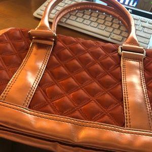 Quilted Satin Bowler Bag Orange